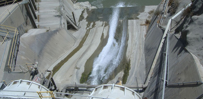 Large dam draining water